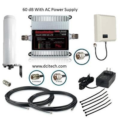 Cellular Repeater Kit with Power Supply, Cables, and Antennas